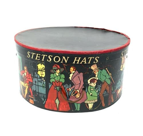 Antique Advertising - 1930s Decorated Victorian Scene Hat Box by Stetson Hats